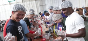Mark Vermouth, an organizer from international non-profit Stop Hunger Now comes to be a part of Day of Service. About one third of the first year class took part in this project for Stop Hunger Now, packaging ingredients to send internationally to people starving.