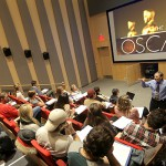 "Professor of Media and Society Lester Friedman speaks to students in his class ""Imagining the West"" in the Fish Screening Room of the Gearan Center for the Performing Arts."