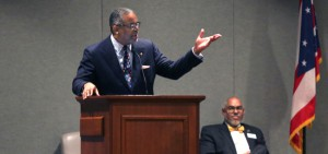 Akron Roundtable speaker Dr. Gregory Vincent, President of Hobart and William Smith Colleges, talks about monuments in public places.  At right is Akron Roundtable Board of Directors member John Williams. (Phil Masturzo/Beacon Journal/Ohio.com)