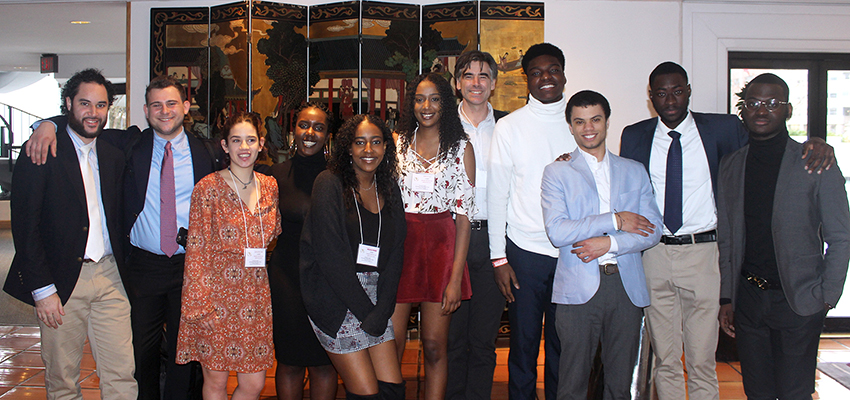 Members of the HWS Model African Union gather with Associate Professor of Anthropology Christopher Annear (center) after participating in the 2018 International Model African Union Conference at Howard University.