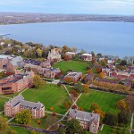 An aerial view of the HWS campus captures Seneca Lake and downtown Geneva located just to the north.