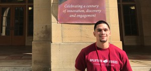 Robert Padilla '21 poses for a photo at Stanford University's inaugural First Generation Conference, which included lectures and workshops on cultivating supportive programs for first-generation college students. Padilla was one of six HWS First Generation Initiative students to attend the national summit.
