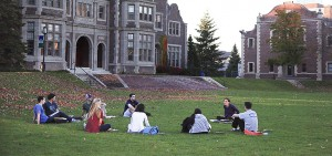 Coxe Hall, outside class, class discussion, group discussion, circle, participation, sunset, circle discussion, circle,
