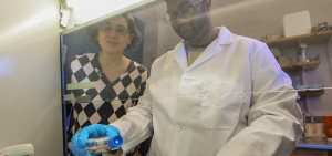 Under the direction of Associate Professor of Biology Patricia Mowery (left), Alvin Randall '19 develops an assay to test potential anti-cancer agents on MCF-7 breast cancer cells in Rosenberg Hall.