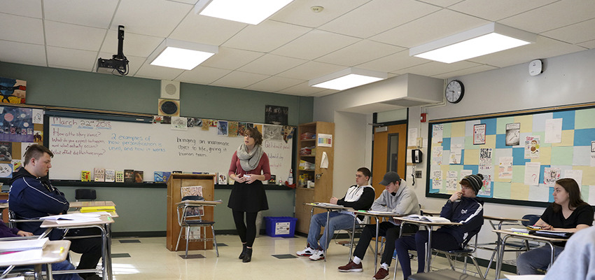 Sara Dolan '18 teaches 10th grade English Language Arts at Mynderese Academy in Seneca Falls, N.Y. As part of the Teacher Education Program (TEP), Dolan will teach throughout the spring semester and graduate from HWS certified to teach secondary education.