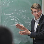 The winner of the Physics Department's 2017 Albert Holland Physics Lecture Competition, Christopher Demas '17, who presented on the physics behind rainbows on Monday in Eaton Hall. --- students competed for a prize of $750 dollars.