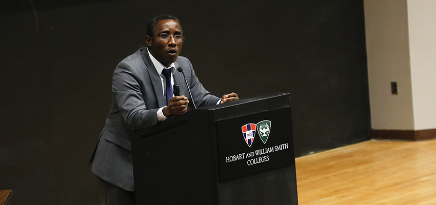 "Chukwuma Onyia, associate director of the Genocide Prevention in Africa Initiative, joins the HWS Human Rights and Genocide Symposium lecture series with his talk ""Nigeria: Re-Conceptualizing and Defining History"" in the Sanford Room."