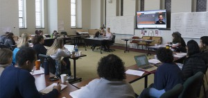 """Graduate students from the University of Iowa, the top ranked creative writing MFA program in the country, lead a workshop on writing with """"humor"""" and """"tone"""" in the Fisher Center."""