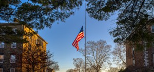 The campus flag at half staff to honor former President George H.W. Bush.