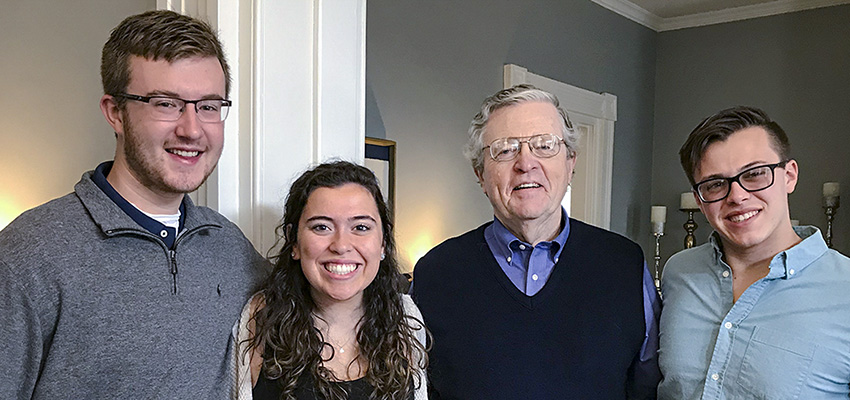 Grant Emerson '20, Alexandria Knipper '21 and Ian Tulloch '19 pose with Interim President Patrick A. McGuire L.H.D. '12 at the President's House during the closing ceremony for Geneva Heroes. The students served as coordinators for the eight-week service and leadership program that engages 20-25 local middle and high school students in service with HWS during the spring semester.