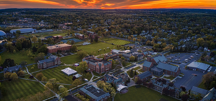 The sun sets over the Hobart and William Smith campus on the Friday of Commencement Weekend.