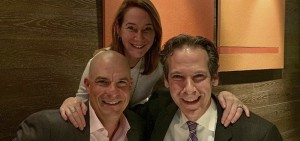 Jim '91 and Sabrina Grandolfo pose for a photo with Associate Vice President of Advancement Jared Weeden '91 in Hong Kong.