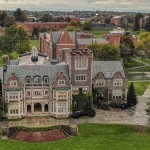 An aerial view from the Quad of Coxe Hall and campus during a fall afternoon.
