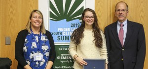 2019 Finger Lakes Youth CLimate Summit inspiration award was given to Amanda Bruha '20
