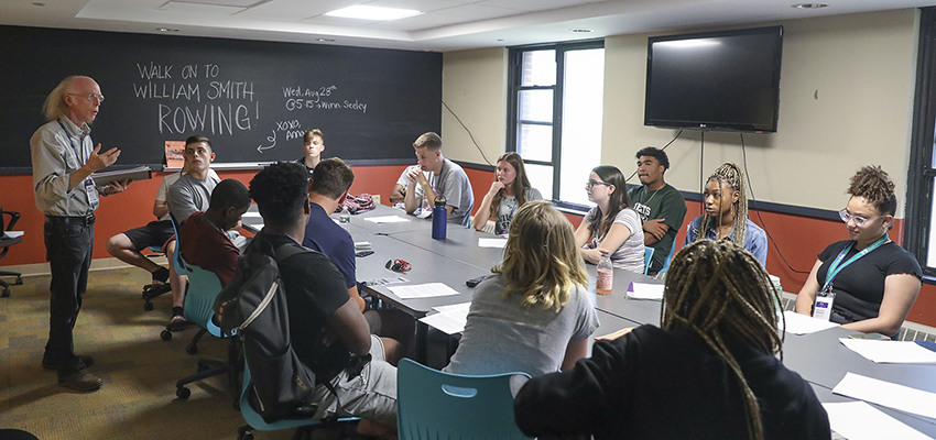 Assistant Professor of African Studies James McCorkle '76 leads a discussion.