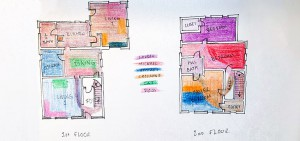 Lauren DeVaney's floorplan, tracking use of space during quarantine, in preparation for a more efficient redesign.