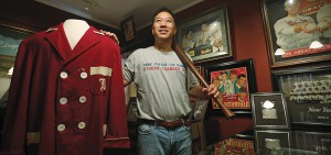 Stephen Wong, baseball collector, poses for a picture in The Peak. 03JUN17 SCMP / Jonathan Wong