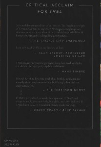 The backcover of the 2019 Fall edition. Every issue includes imagined praise and critical reception.