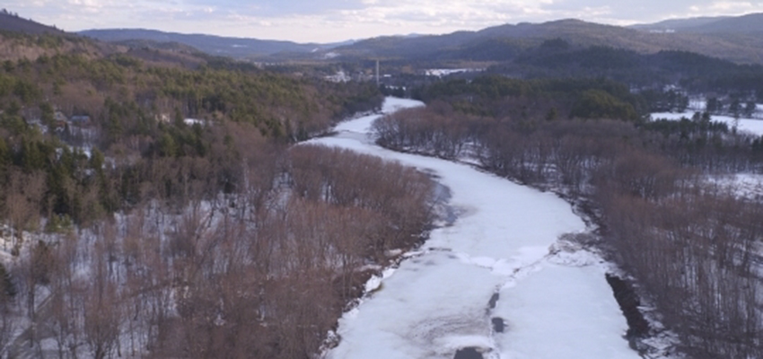 A UAS acquired image shows a section of the frozen Pemigewasset River.