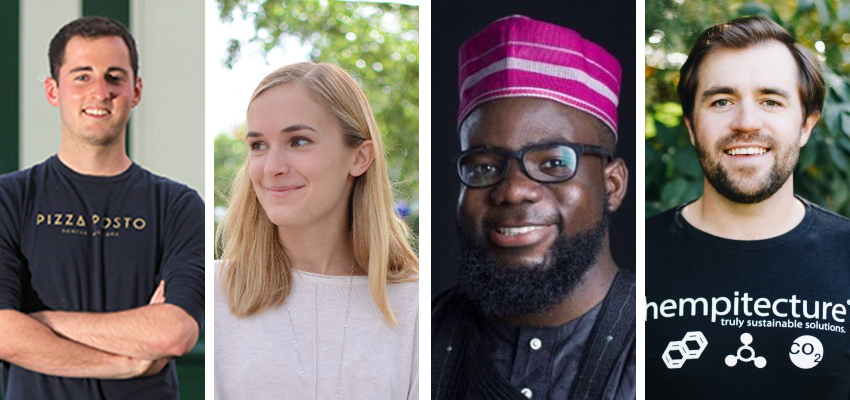 The 2021 judges of the Pitch. From left to write, Sam Solomon '17, owner of Pizza Posto and Spotted Duck Creamery; Sara Wroblewski '13, founder of One-Bead; Ato Bentsi-Enchill '17, partner at Black Adam Africa; and Matthew Mead '13, founder and CEO of Hempitecture.