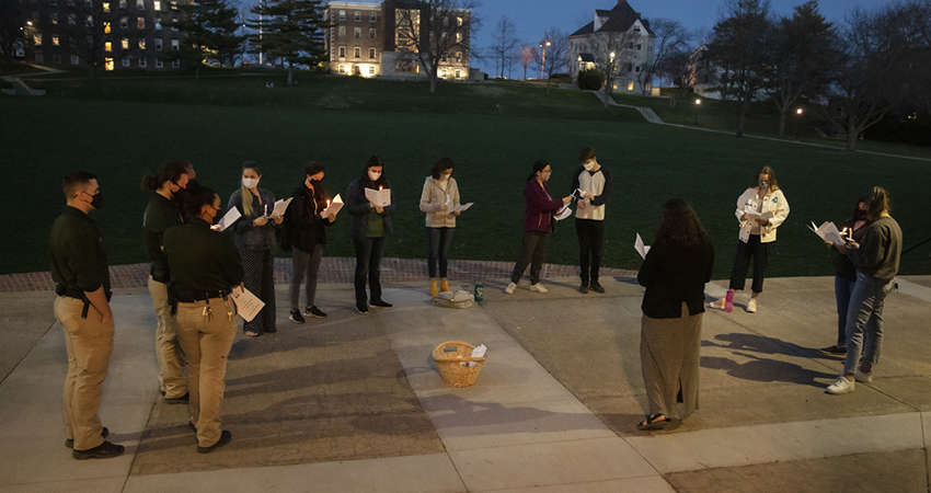 HWS community members gather on the steps of Coxe Hall.