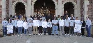 Members of the HWS First Generation Initiative gather for a group photo on the Coxe Hall steps.