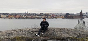 Matthew Nardone '21 poses in front of the Stockholm, Sweden skyline. He is studying abroad in Copenhagen, Denmark this semester.